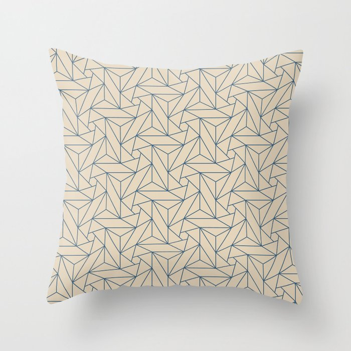 Blue & Beige Abstract Triangle Geometric Mosaic Shape Pattern Pairs To 2020 Color of the Year Throw Pillow