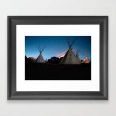 Standing rock at night Framed Art Print