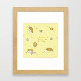 Yellow armadillo pattern Framed Art Print