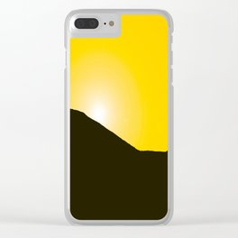 Mountain silhuette - sunrise sky - black rockymountain on yellow background - #Society6 #buyart Clear iPhone Case