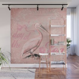Retro Pelican Vintage Style Illustration Wall Mural