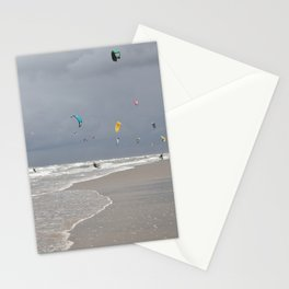 Thunderclouds and sunshine --Kitesurfers under a dark sky in the Netherlands --  Stationery Cards