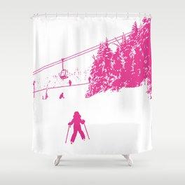Little Skier - Pink Shower Curtain