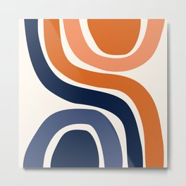 Abstract Shapes 29 in Burnt Orange and Navy Blue Metal Print