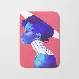 Woman in Blue Bath Mat