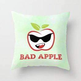 Bad Apple in Black Sunglasses with Attitude Throw Pillow