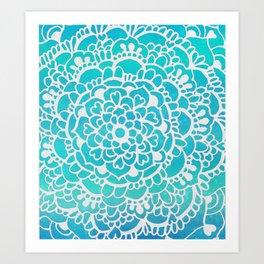 Aqua Turquoise Sparkle Doodle Pattern Art Print