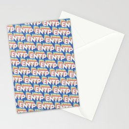 ENTP Trendy Rainbow Text Pattern (Blue) Stationery Cards