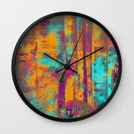 Burst Of Energy! - Abstract, orange, blue, pink, purple and green oil painting  Wall Clock