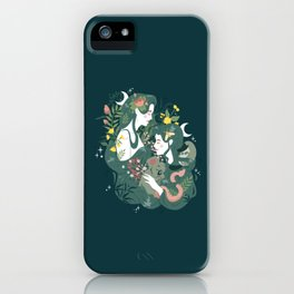 Flora and Fauna Moon phases goddess iPhone Case