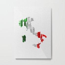 Italia Typographic Flag Map Art Metal Print
