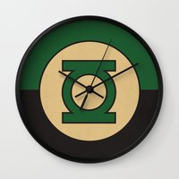 dc comics Wall Clocks featuring Green Lantern Logo Minimalist Art Print DC Comics by The Retro Inc