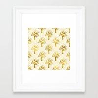 gold foil Framed Art Prints featuring Cream Gold Foil 02 by Aloke Design