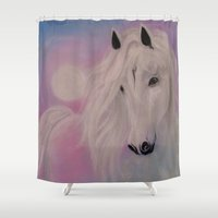 serenity Shower Curtains featuring Serenity by Christine's heART