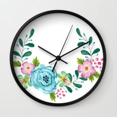 Bouquet Viola - Violet, Green AND Blue Flower Wall Clock
