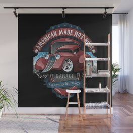 American Hot Rods Garage Vintage Car Sign Cartoon Wall Mural