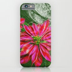Abstract vibrant red poinsettia on green texture iPhone 6s Slim Case