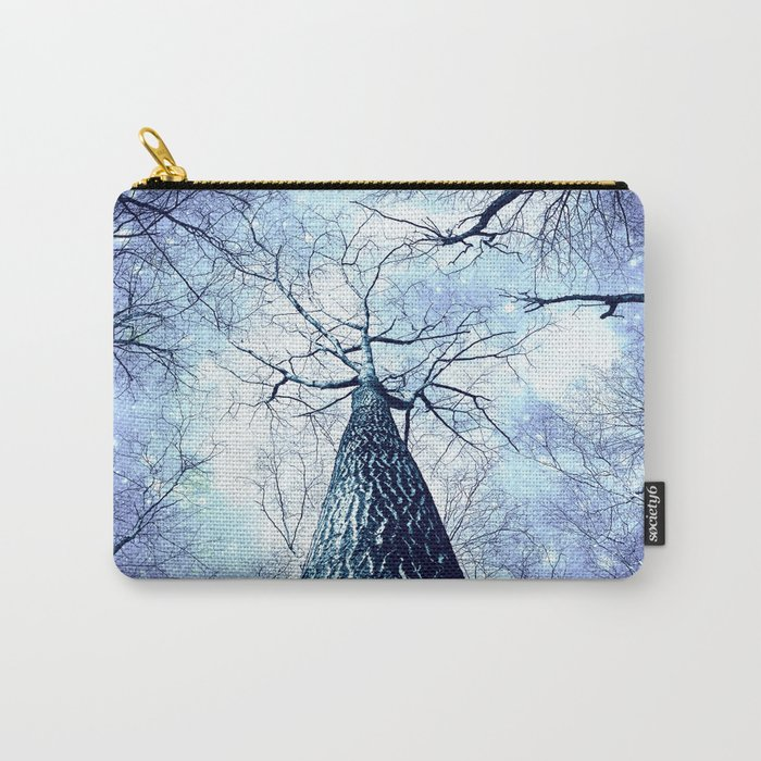 Wintry Trees Periwinkle Ice Blue Space Carry-All Pouch