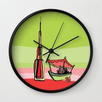 wiz khalifa Wall Clocks featuring Abra by the Burj Khalifa by Dubai Doodles