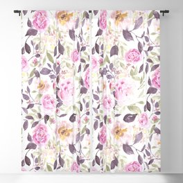 Farmhouse Floral Aubergine Blackout Curtain