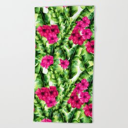 green banana palm leaves and pink flowers Beach Towel