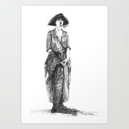 """""""Woman Wearing a Tri-Corner Hat"""" Art Print"""