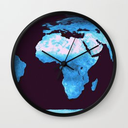 Classic Blue Gradient World Map Wall Clock