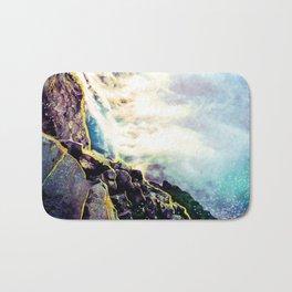 Abstract Mermaid Waves Blue and Purple Bath Mat