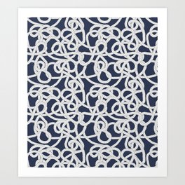 Nautical Rope Knots in Navy Art Print