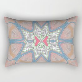 Queen Rose Neo Tribal Boho Floral Pink Peach Rectangular Pillow