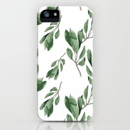 Cherry green leaves pattern iPhone Case