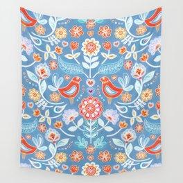 Happy Folk Summer Floral on Light Blue Wall Tapestry