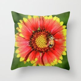 Bee looking for honey in Spring Throw Pillow