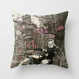 two piece shoot out in neo tokyo... by rmd Throw Pillow