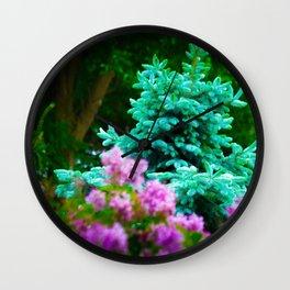 Blue Spruce Behind Lilacs Wall Clock