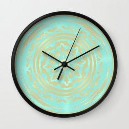 flower power: portobello aqua & olive Wall Clock