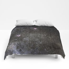Starry sky with millions of stars, Milky Way galaxy, Eagle nebula, Omega nebula Comforters