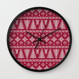 Christmas Tree Sweater Pattern - Classic Red Wall Clock