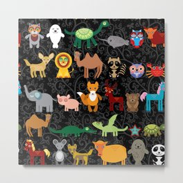 Set of funny cartoon animals character on  black seamless background. zoo. Metal Print