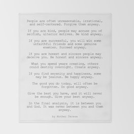 Do It Anyway by Mother Teresa #minimalism #inspirational Throw Blanket
