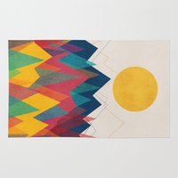 mountains Area & Throw Rugs featuring Uphill Battle by Picomodi