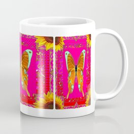 Golden Swallow Tail Butterfly Fuchsia Sunflower Abstract Coffee Mug