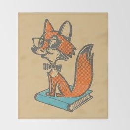 Fox Librarian - A Well Read Fox Throw Blanket