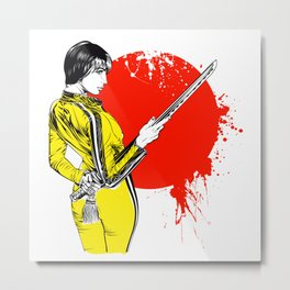 Women with sword on red sun Metal Print