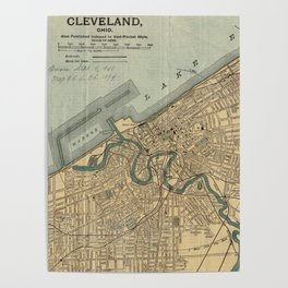 Vintage Map of Cleveland OH (1894) Poster