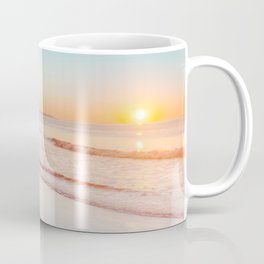 Gull on wet sand at sunrise on Maine beach Coffee Mug