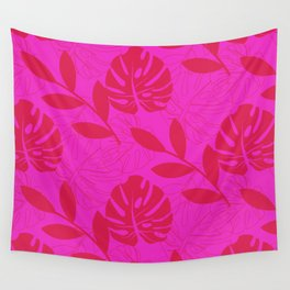 Monstera Leave Red In Red Pattern Wall Tapestry