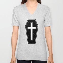 Classic Horror Distressed Gothic Coffin Unisex V-Neck