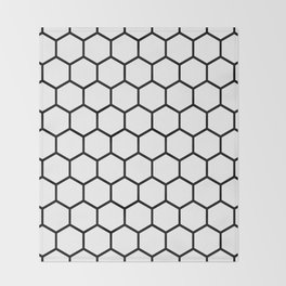 White and black honeycomb pattern Throw Blanket