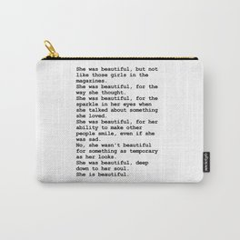 She was beautiful by F. Scott Fitzgerald #minimalism #poem Carry-All Pouch
